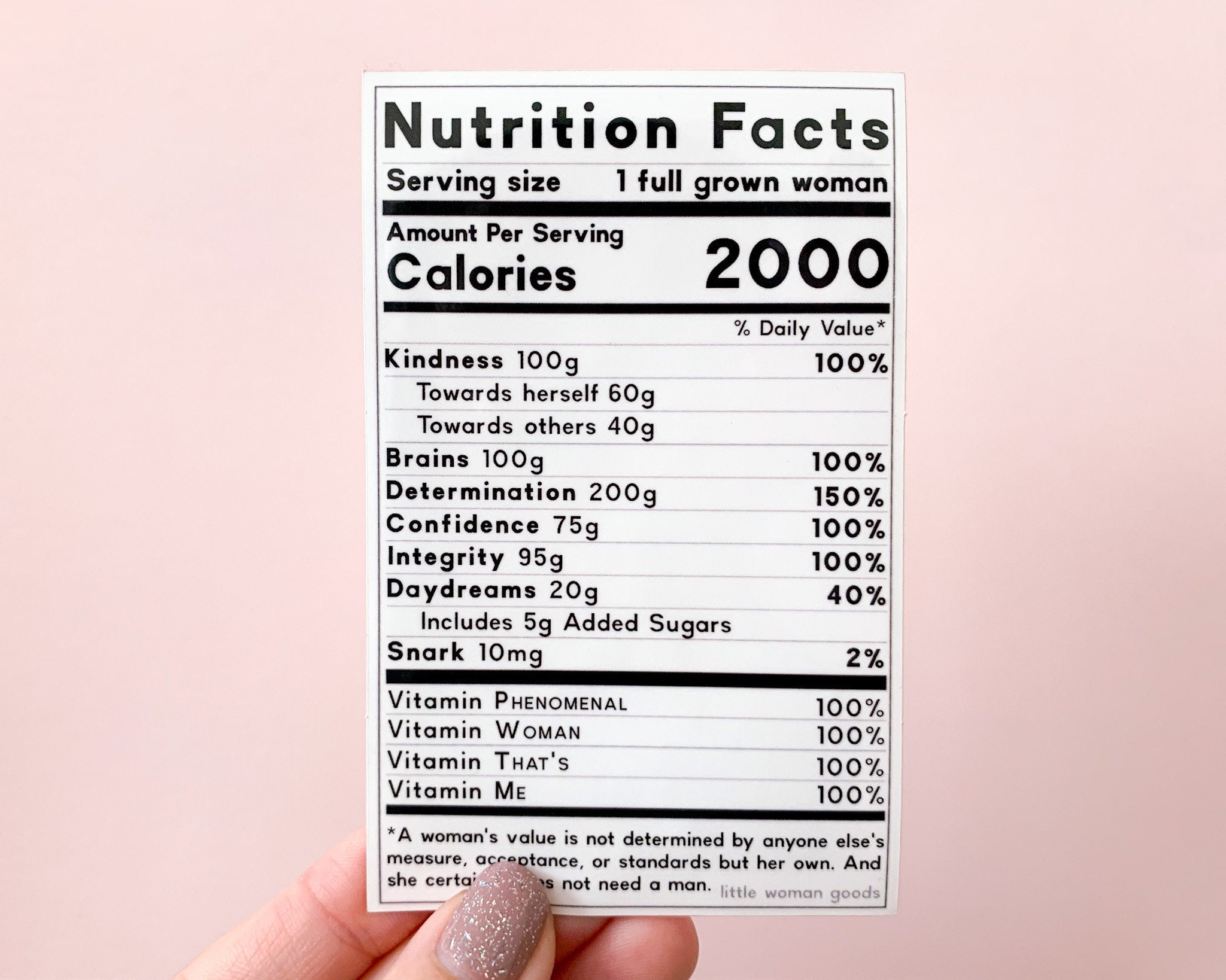 Feminist Sticker Nutrition Facts- Vinyl Sticker Empowering Feminist Design Funny Weatherproof Decal Laptop Waterbottle Bumper Sticker