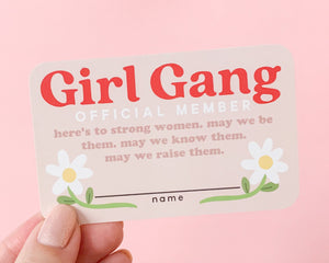 Girl Gang Membership Card- Personalized Customizable Gift Cute Pink Feminist Art Empowering Women