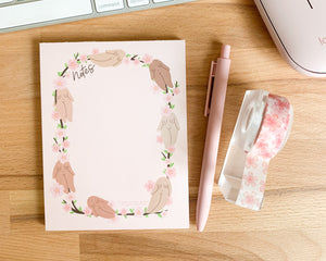 Feminist Notepad- Cute Pink Stationery Planner Accessories Cherry Blossom Sakura Floral Notes To do Paper A6