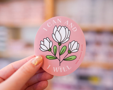 "Feminist Sticker Vinyl- ""I Can & I Will"" Waterproof Dishwasher-Safe Vinyl Sticker Motivational Inspirational Quote Floral Pink"
