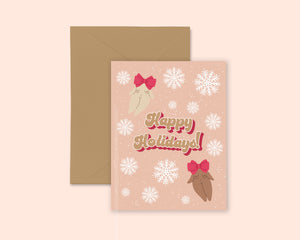 Feminist Holiday Greeting Card- Happy Holidays Christmas New Years Winter Snowflake Illustrated Cute Minimal Greeting Card A2 Kraft Paper
