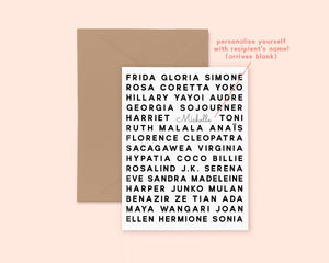 Feminist Heroes Greeting Card- Personalized Gift Empowering Inspirational  Illustrated Cute Minimal Greeting Card A2 Kraft Paper