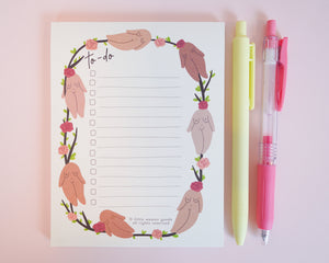 Feminist Notepad- To do Notes Cute Floral Stationery Planner Accessories Floral Notes To do Paper A6