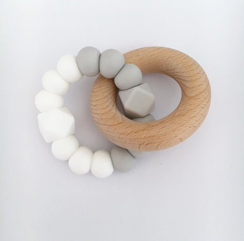 DOUBLE HEX TEETHING TOY - WHITE/GREY