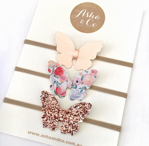 """TALLULAH"" FLORAL MINI BUTTERFLY BOW SET"
