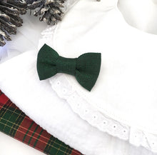 MINI  CHRISTMAS GREEN LUREX BOW (HEADBAND or CLIP)