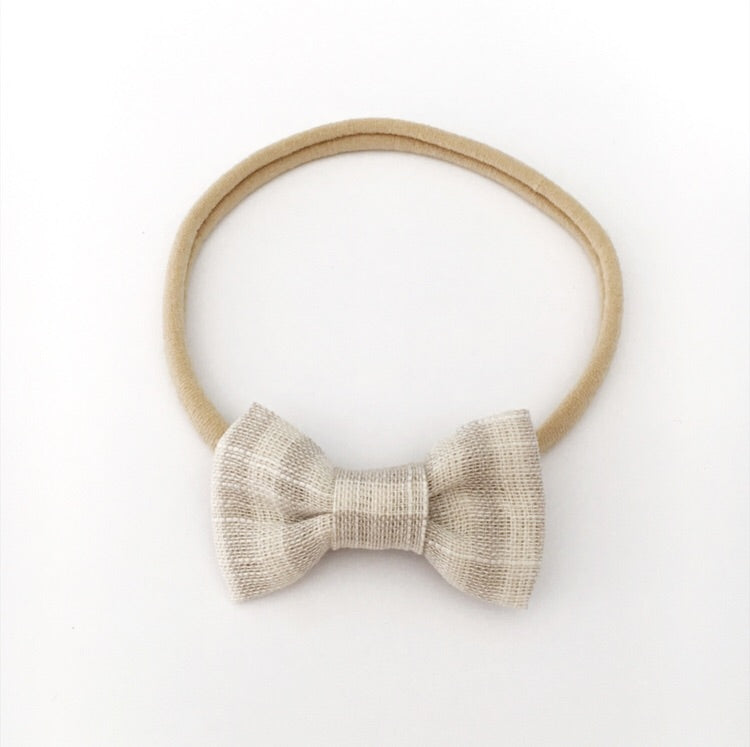 """HARPER"" MINI NATURAL LINEN STRIPE BOW"