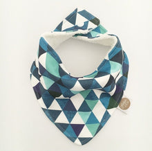 """BLUE GREEN TRIANGLES"" ORGANIC BANDANA BIB"