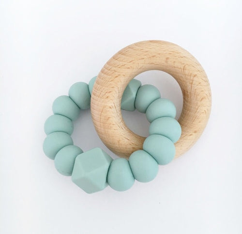 DOUBLE HEX TEETHING TOY - SEAFOAM