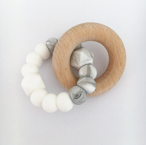 DOUBLE HEX TEETHING TOY- WHITE/MARBLE