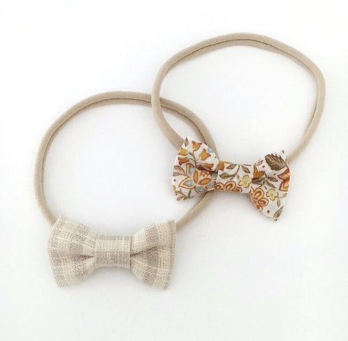 MINI BEIGE LINEN OR MUSTARD FLORAL BOW
