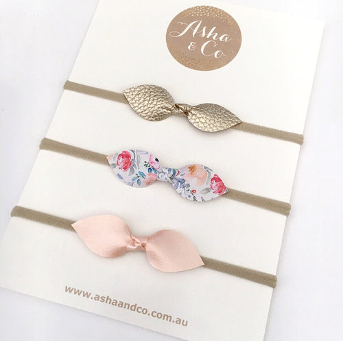 """EVE"" MINI FLORAL/PEACH PETAL BOW SET HEADBAND/CLIPS"