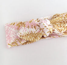 """LOLA""  PINK/GOLD ORGANIC TOPKNOT BOW"