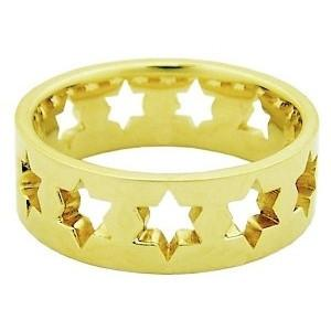 14K Gold Star Of David Ring 18 Kt Gold