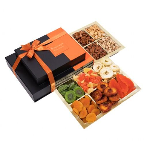 2 Tier Deluxe Dried Fruit Gift Platters & Gift Boxes Gift Basket 2 Tier Designer Stripes