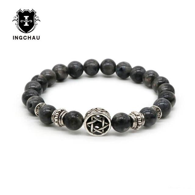 2018 Lava Rock Jewish Star of David Bracelet