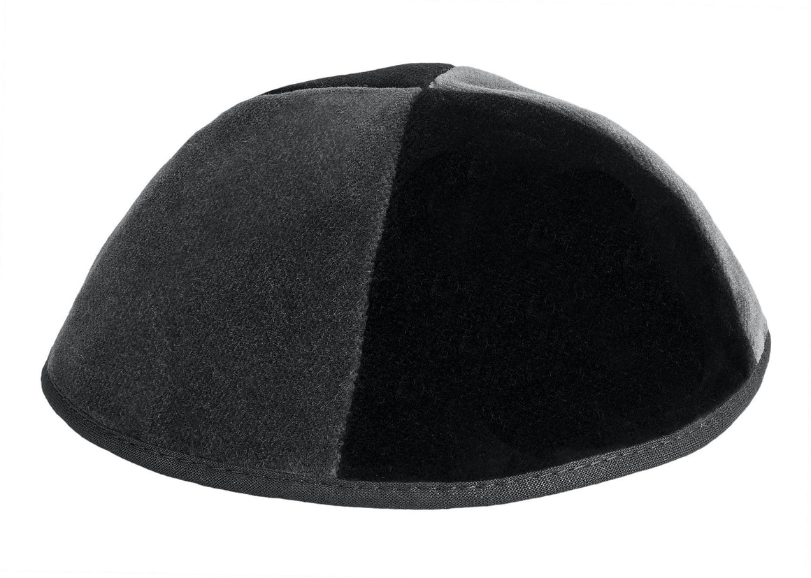 4 Part Rimmed Black/Gray Velvet Skullcap