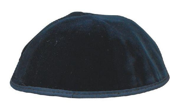 4 Part Rimmed Navy Velvet Skullcap. Available In Different Sizes