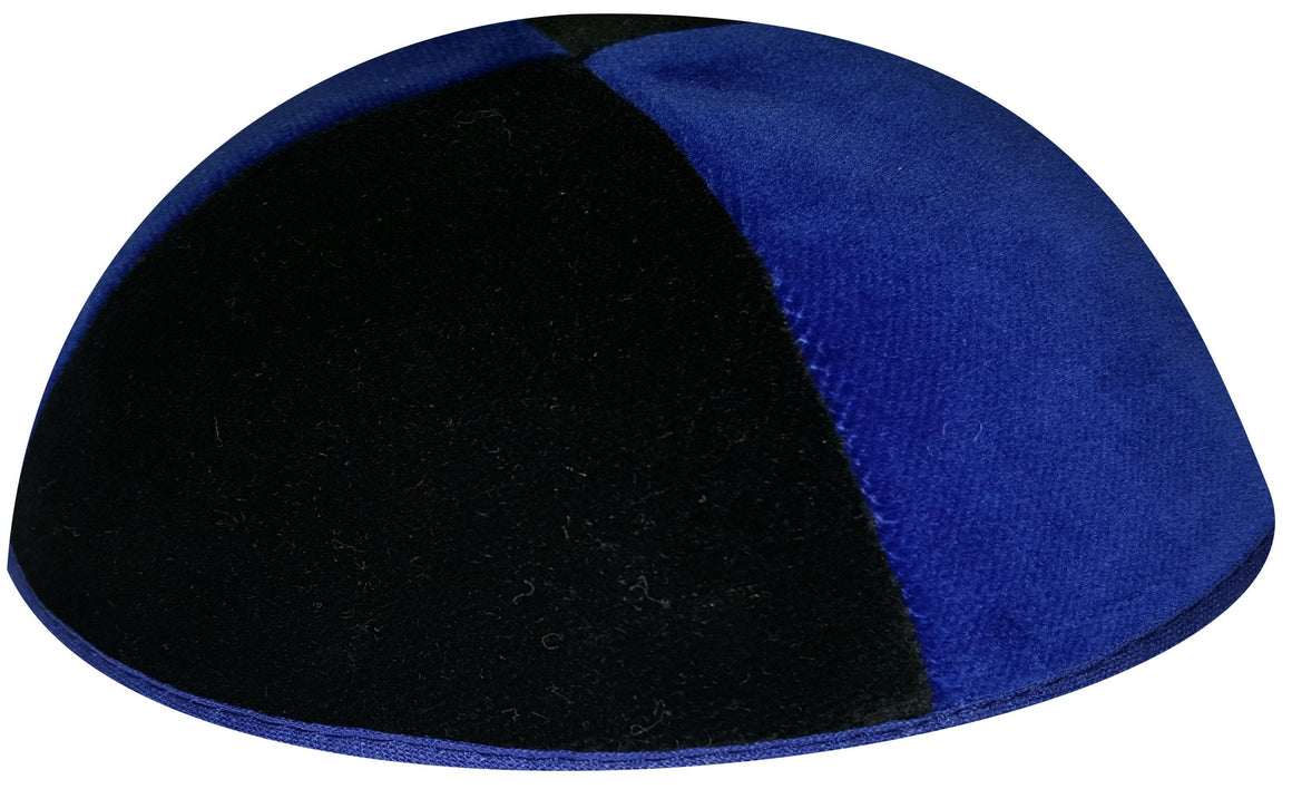 4 Part Rimmed Royal Blue/Black Velvet Skullcap