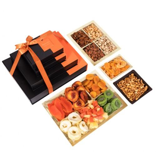 4 Tier Deluxe Dried Fruit Gift Platters & Gift Boxes Gift Basket 4 Tier Designer Stripes