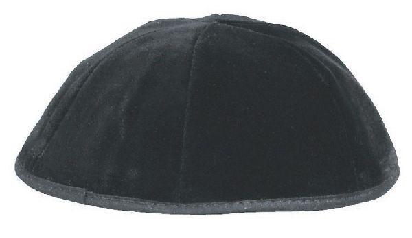 6 Part Rimmed Velvet Skullcap Black . Available In Different Sizes