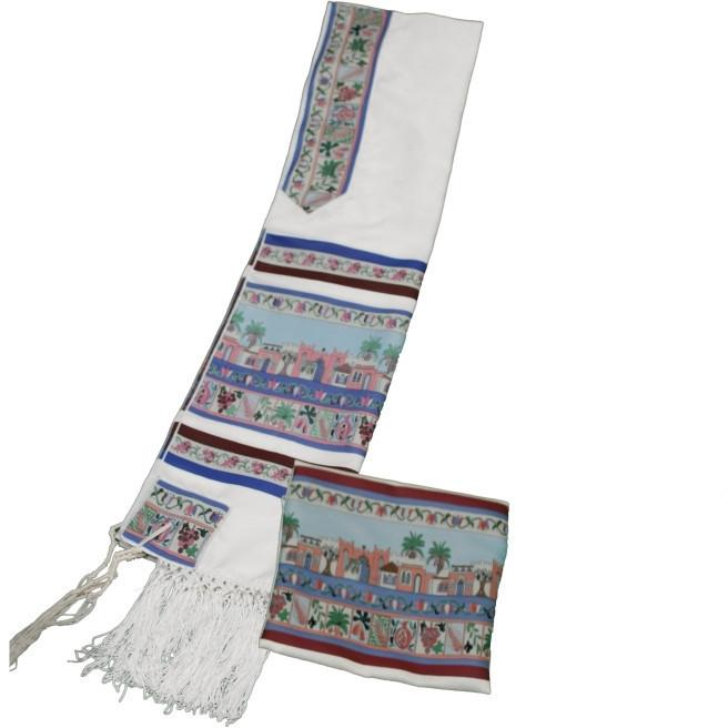 "7 Species Of The Land Of Israel Tallit 18"" x 72"" (45/180 cm) Add Kippah & Bag"