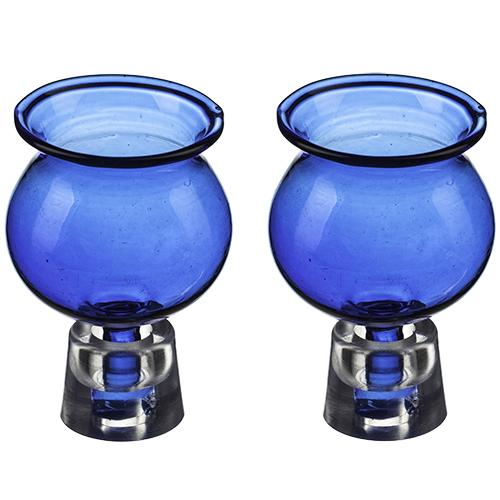 A Pair Of Glass Oil Cups 5.5x3.5 Cm- Blue 1316