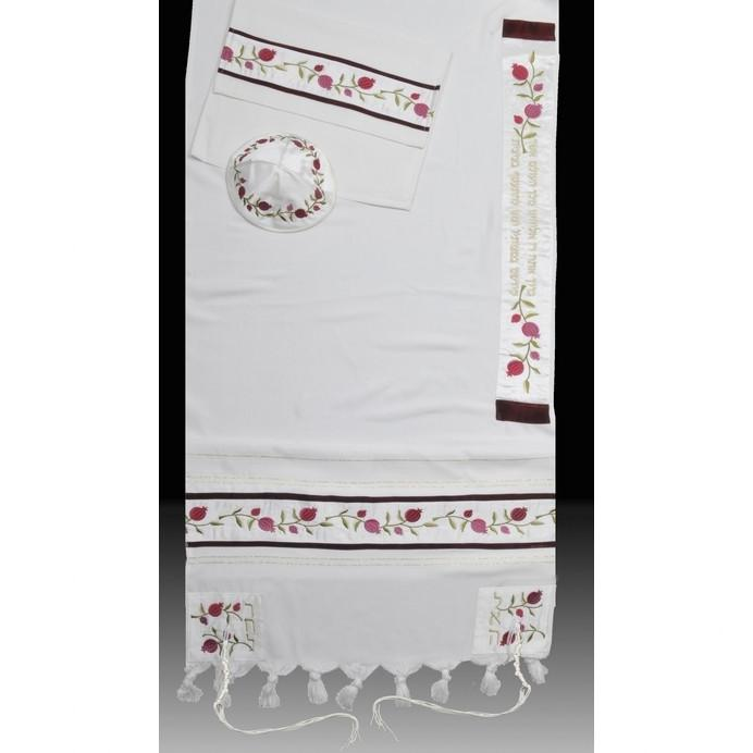 "A Pomegranate Feminine Tallit 51x72"" (130/180 cm) #55 Wool Embroidery to 10 letters"