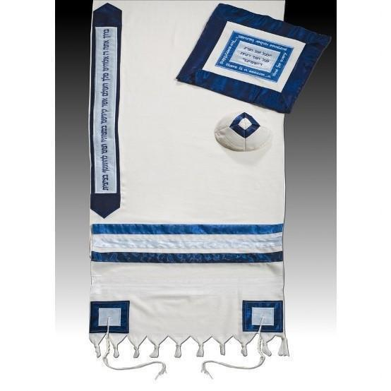 "A Timeless Embroidered Tallit 51x72"" (130/180 cm) #55 Wool Embroidery to 10 letters"
