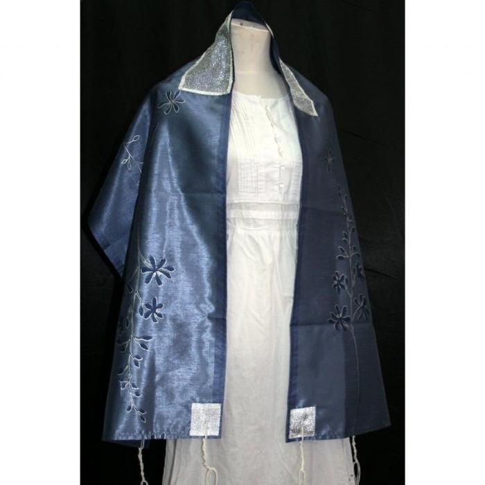 All Blue Floral Silk Tallit Set