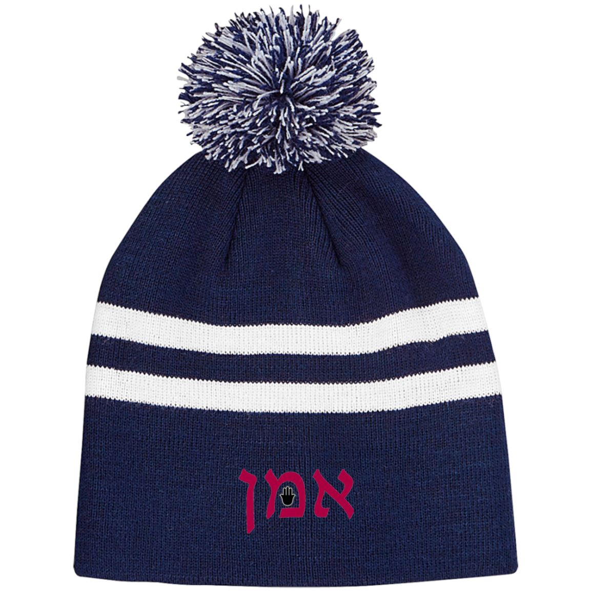 Amen Hebrew Embroidered Knit Fashion Pom Beanie Hats Hats Maroon/Black One Size