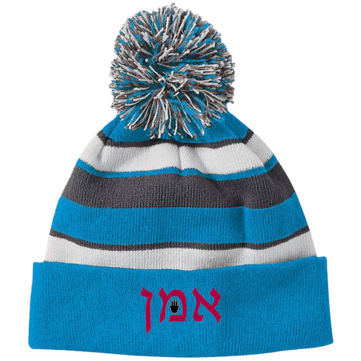 Amen Hebrew Embroidered Knit Fashion Striped Beanie Hat & Pom Hats Black/White One Size