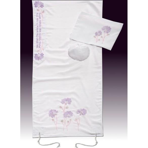 "An Embroidered Floral Lavender Talit Set 51x72"" (130/180 cm) #55 Wool Embroidery to 10 letters"
