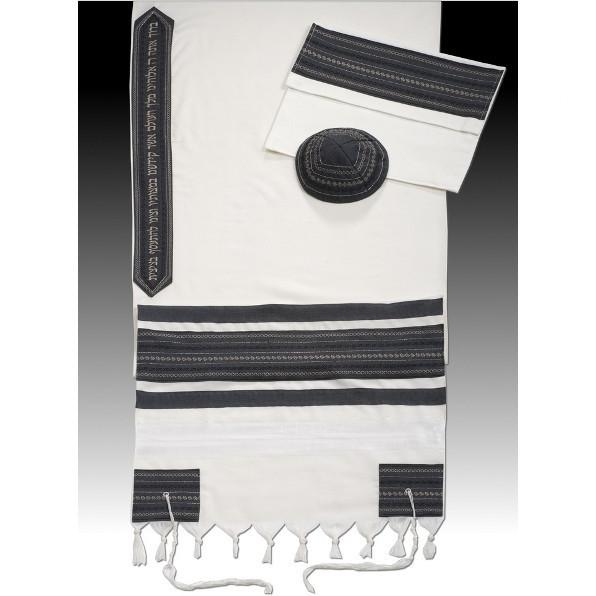 "An Exquisite Embroidered Gray Striped Tallit 51x72"" (130/180 cm) #55 Wool Embroidery to 10 letters"