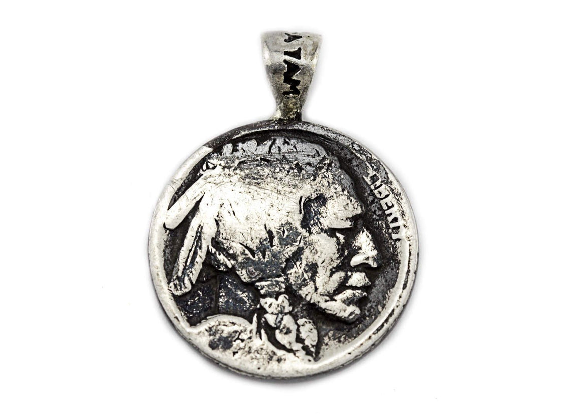 Anchor Medallion Pendant on Buffalo Nickel coin of USA Necklace - Sea Jewelry Necklace