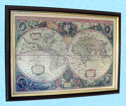 Ancient Biblical Maps Display Wall Hangings Year 1660
