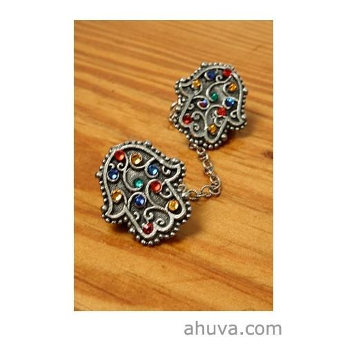 Antique Silver Hamsa Tallit Clips Blue