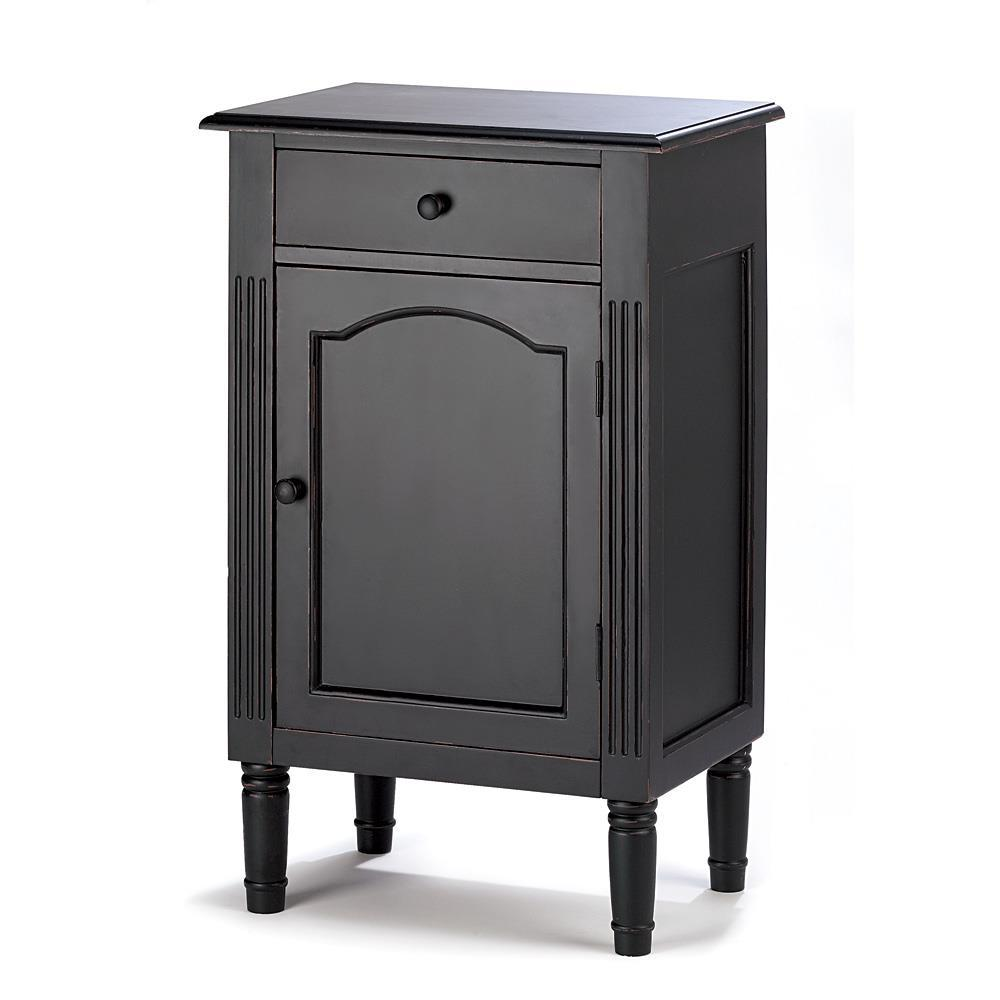 Antiqued Black Wood Cabinet Home Decor