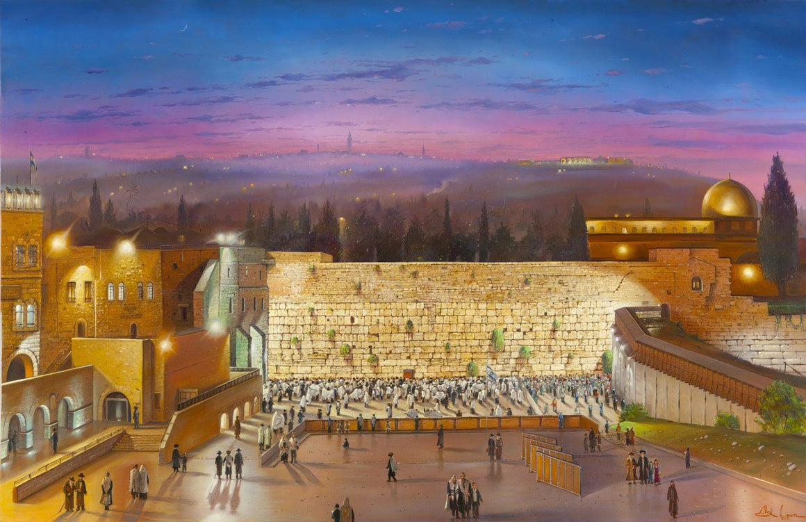 Art Masterpiece Night at the Kotel Original Canvas
