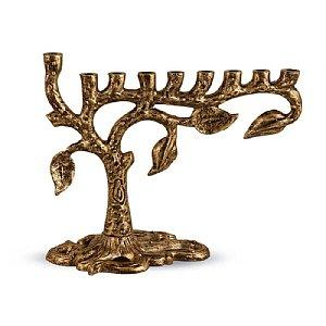 Artistic Tree of Life Menorah - Antique Gold