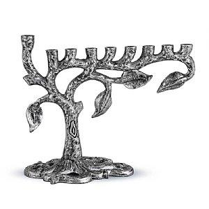 Artistic Tree of Life Menorah - Antique Silver