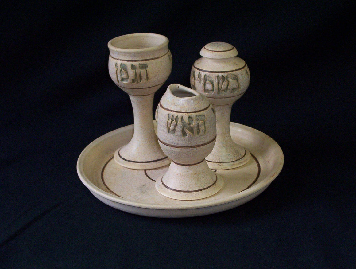 Authentically Ceramic Kilned Havdalah Set Collection Classic Jerusalem Havdalah Set