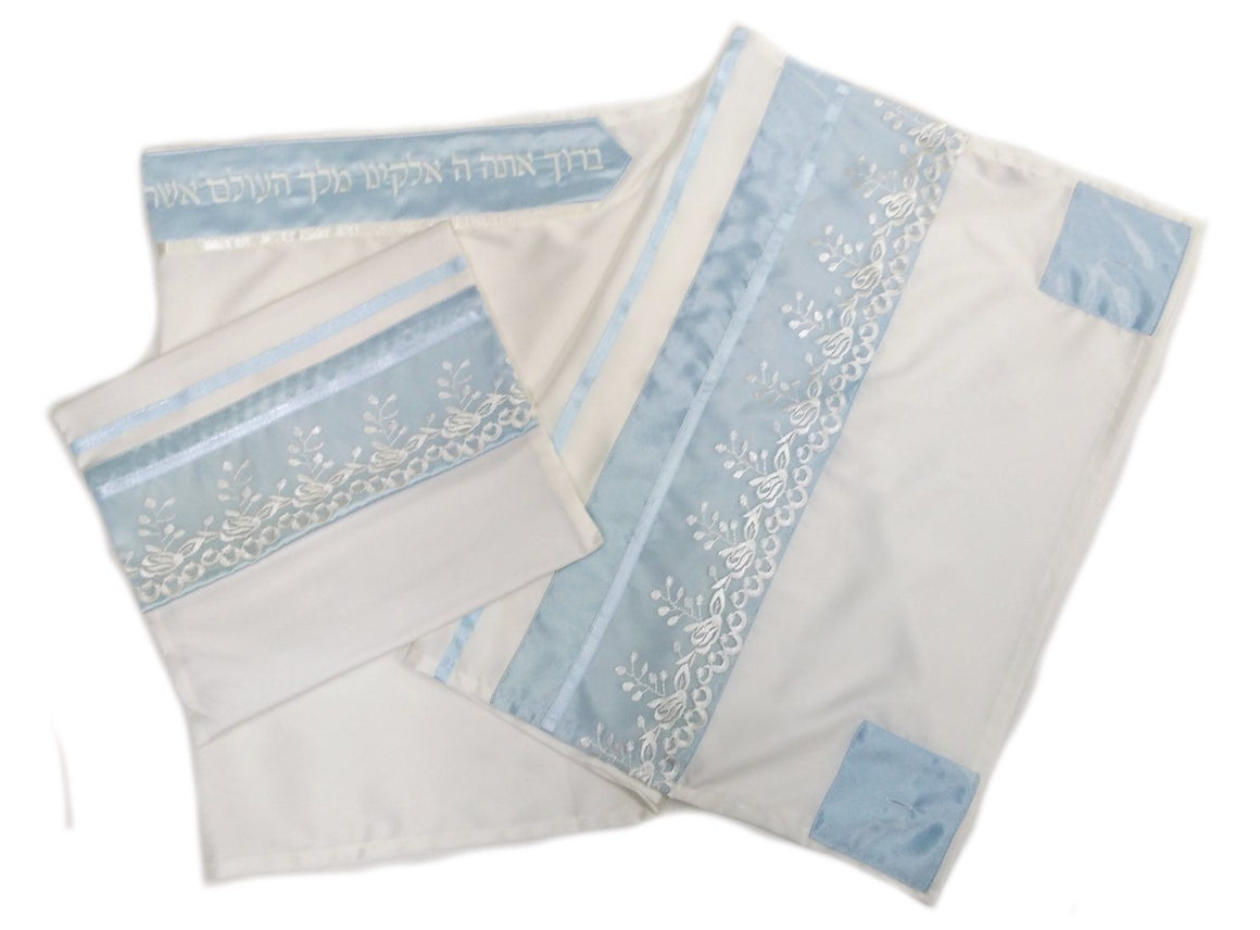 Baby Blue Floral Tallit 4 Piece Hand Embroidered Set Tallit
