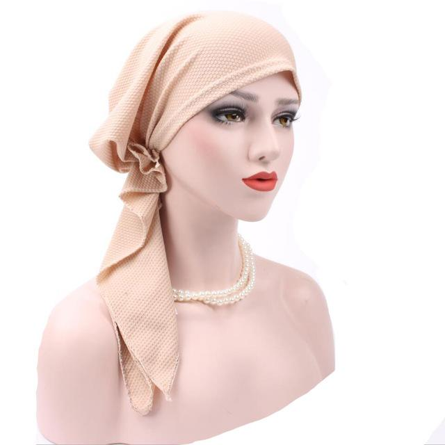 Bandanas Women Ruffle Headscarf Pre-Tied Tichel for Ladies apparel