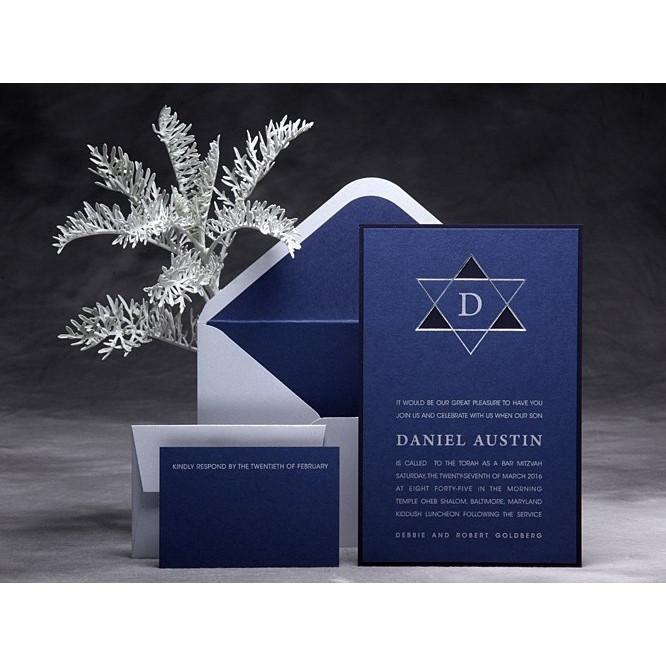 Bar Mitzvah Invitations Beige Add Thank You Cards
