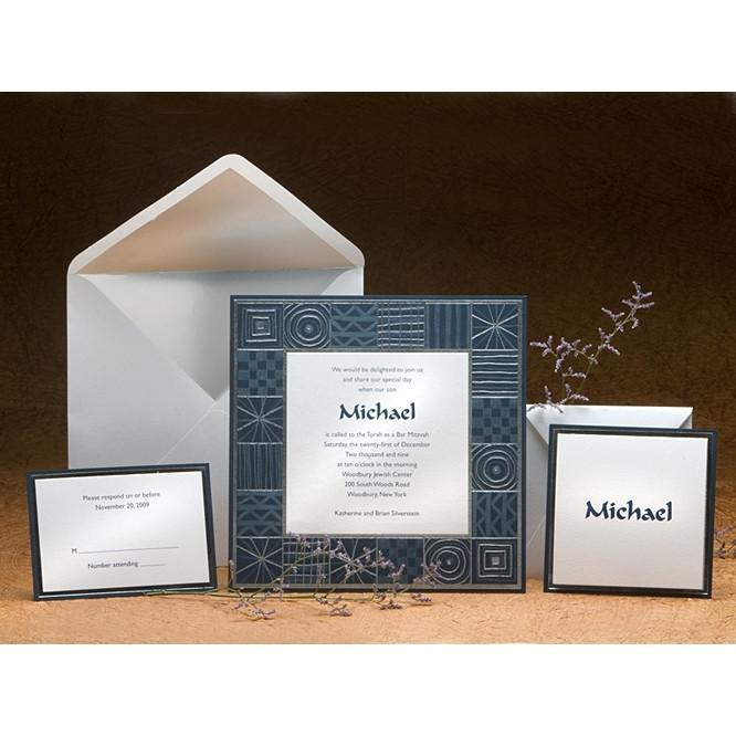 Bar Mitzvah Invitations - Blue Frame Add Thank You Cards