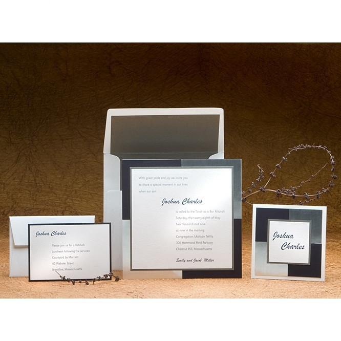 Bar Mitzvah Invitations - Boxed Add Thank You Cards