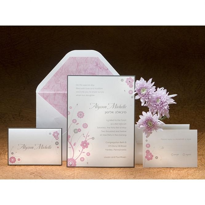 Bat Mitzvah Invitations - Lotus Pink Add Thank You Cards
