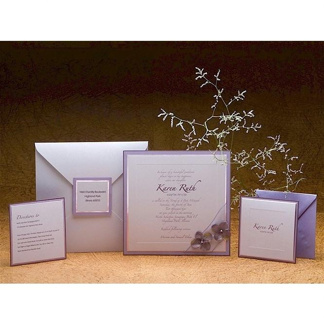 Bat Mitzvah Invitations - Plum And Lilac Add Thank You Cards