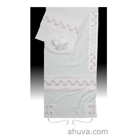 "Bat Mitzvah Or Woman'S Floral Tallit Set In Pink 51x72"" (130/180 cm) #55 Wool Embroidery to 10 letters"